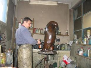Atelier, fonderie, bronze, sculpture